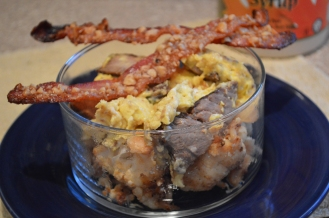 reheated the cauliflower and topped with sea salt, steak scramble and this maple walnut bacon (recipe coming up!)
